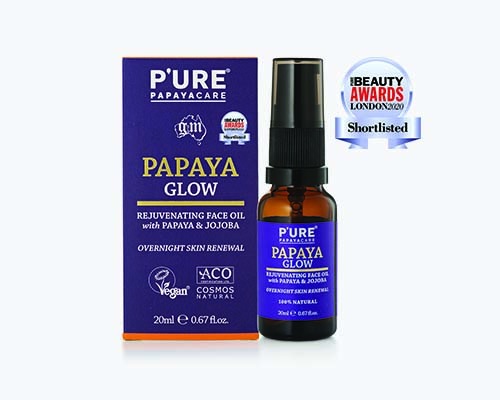 P'URE PAPAYACARE GLOW SHORTLISTED IN PURE BEAUTY AWARDS LONDON 2020